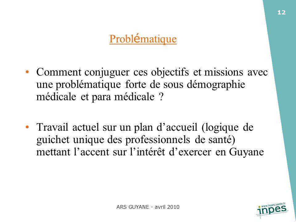 ARS GUYANE - avril 2010 12 Probl é matique Comment conjuguer ces objectifs et missions avec une problématique forte de sous démographie médicale et pa