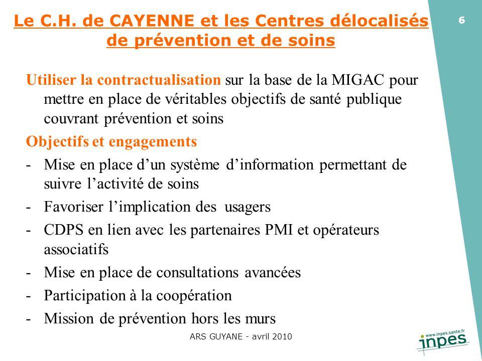 ARS GUYANE - avril 2010 6 Le C.H. de CAYENNE et les Centres délocalisés de prévention et de soins Utiliser la contractualisation sur la base de la MIG