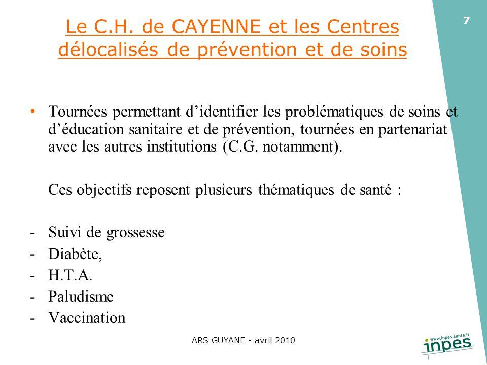 ARS GUYANE - avril 2010 7 Le C.H. de CAYENNE et les Centres délocalisés de prévention et de soins Tournées permettant didentifier les problématiques d