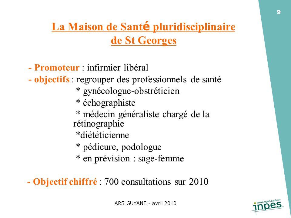 ARS GUYANE - avril 2010 9 La Maison de Sant é pluridisciplinaire de St Georges - Promoteur : infirmier libéral - objectifs : regrouper des professionn