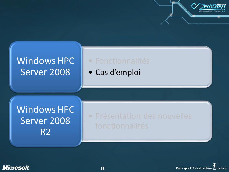 13 Fonctionnalités Cas demploi Windows HPC Server 2008 Présentation des nouvelles fonctionnalités Windows HPC Server 2008 R2