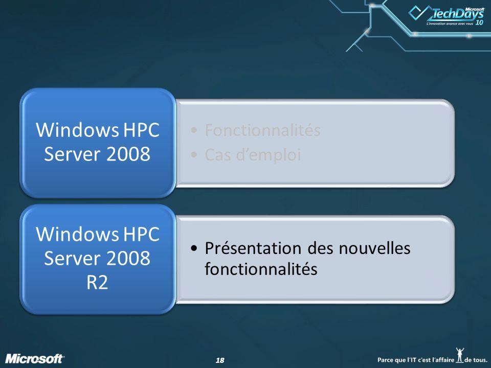 18 Fonctionnalités Cas demploi Windows HPC Server 2008 Présentation des nouvelles fonctionnalités Windows HPC Server 2008 R2