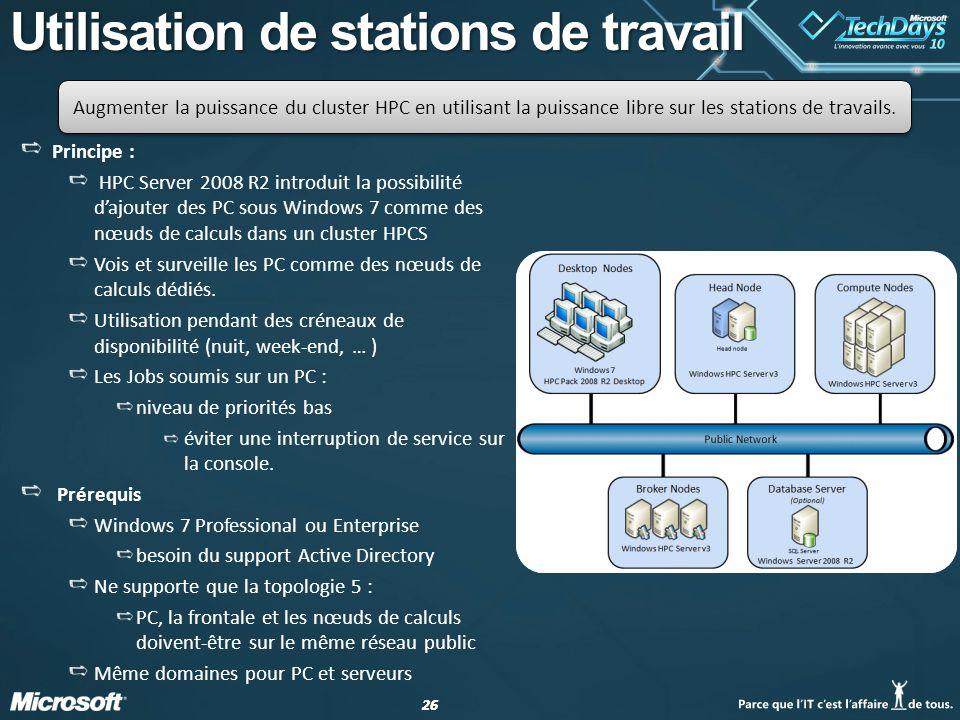 26 Utilisation de stations de travail Principe : HPC Server 2008 R2 introduit la possibilité dajouter des PC sous Windows 7 comme des nœuds de calculs