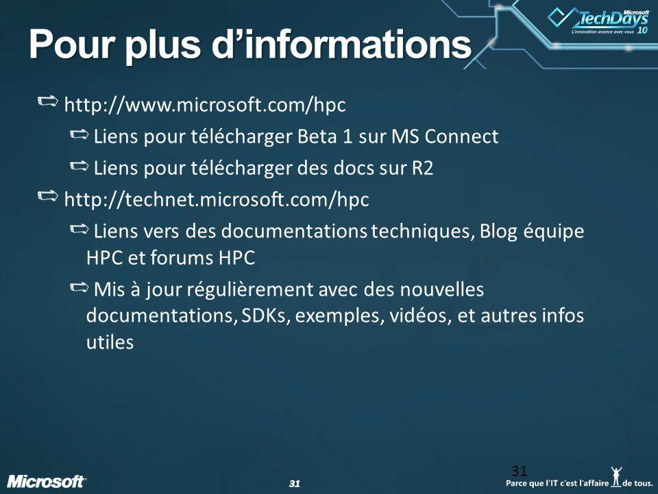 31 Pour plus dinformations http://www.microsoft.com/hpc Liens pour télécharger Beta 1 sur MS Connect Liens pour télécharger des docs sur R2 http://tec