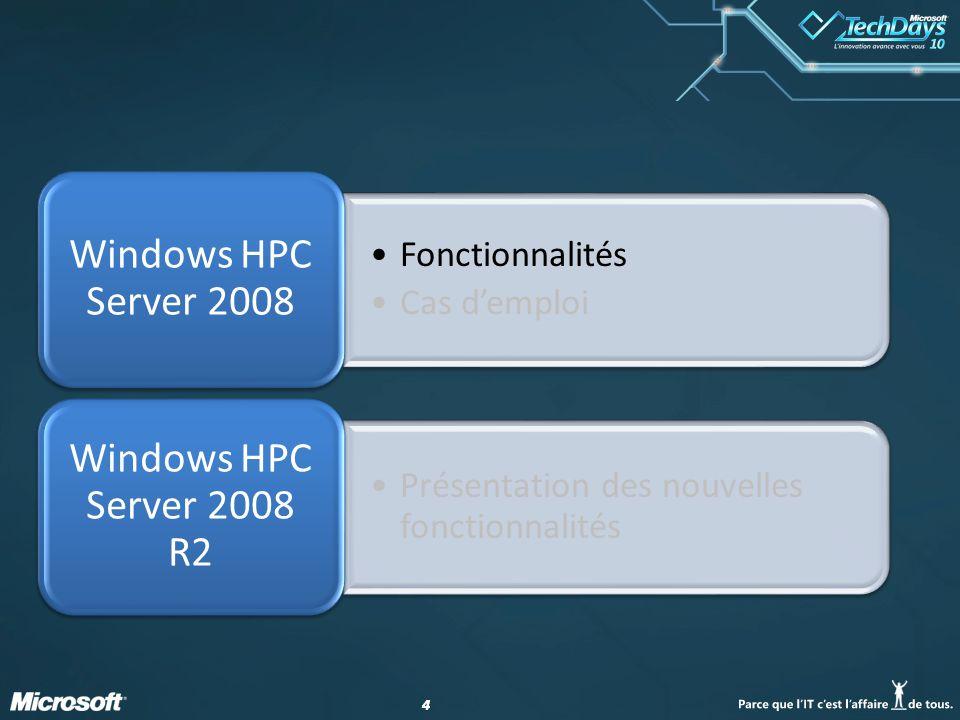 44 Fonctionnalités Cas demploi Windows HPC Server 2008 Présentation des nouvelles fonctionnalités Windows HPC Server 2008 R2