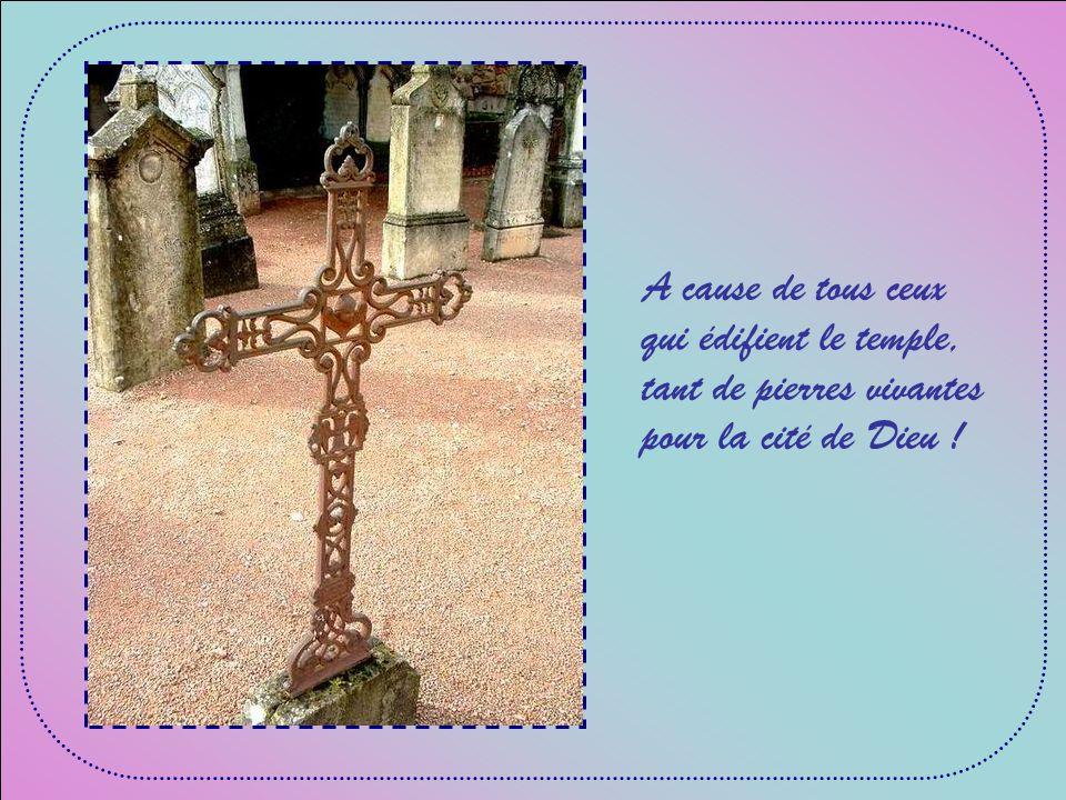 A cause de tous ceux qui édifient le temple, tant de pierres vivantes pour la cité de Dieu !
