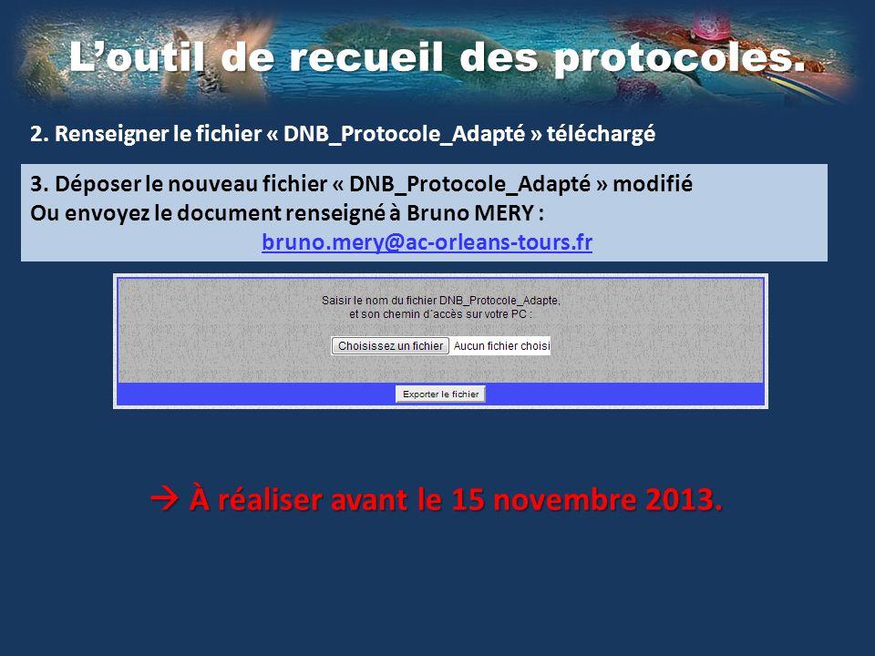 Loutil de recueil des protocoles.2. Renseigner le fichier « DNB_Protocole_Adapté » téléchargé 3.
