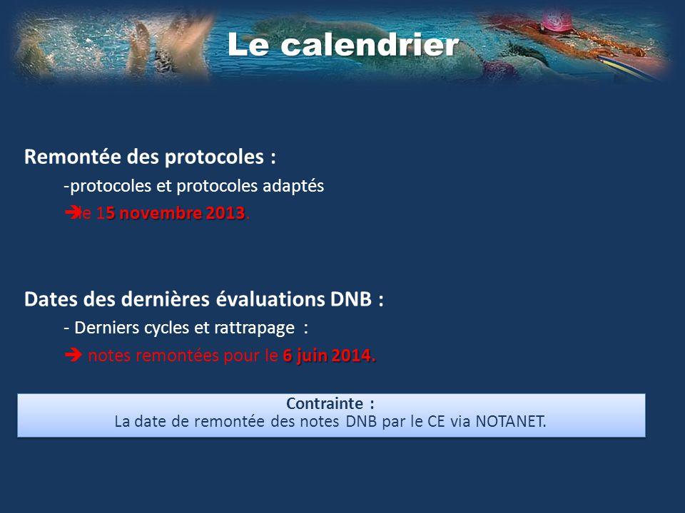 Remontée des protocoles : -protocoles et protocoles adaptés 5 novembre 2013 le 15 novembre 2013.