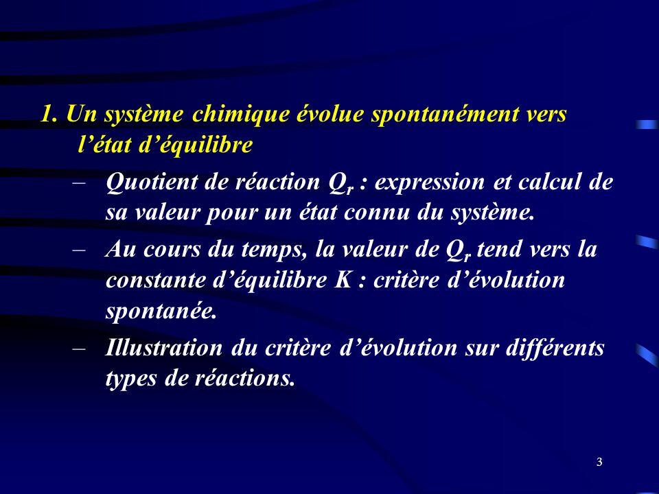 3 1. Un système chimique évolue spontanément vers létat déquilibre –Quotient de réaction Q r : expression et calcul de sa valeur pour un état connu du