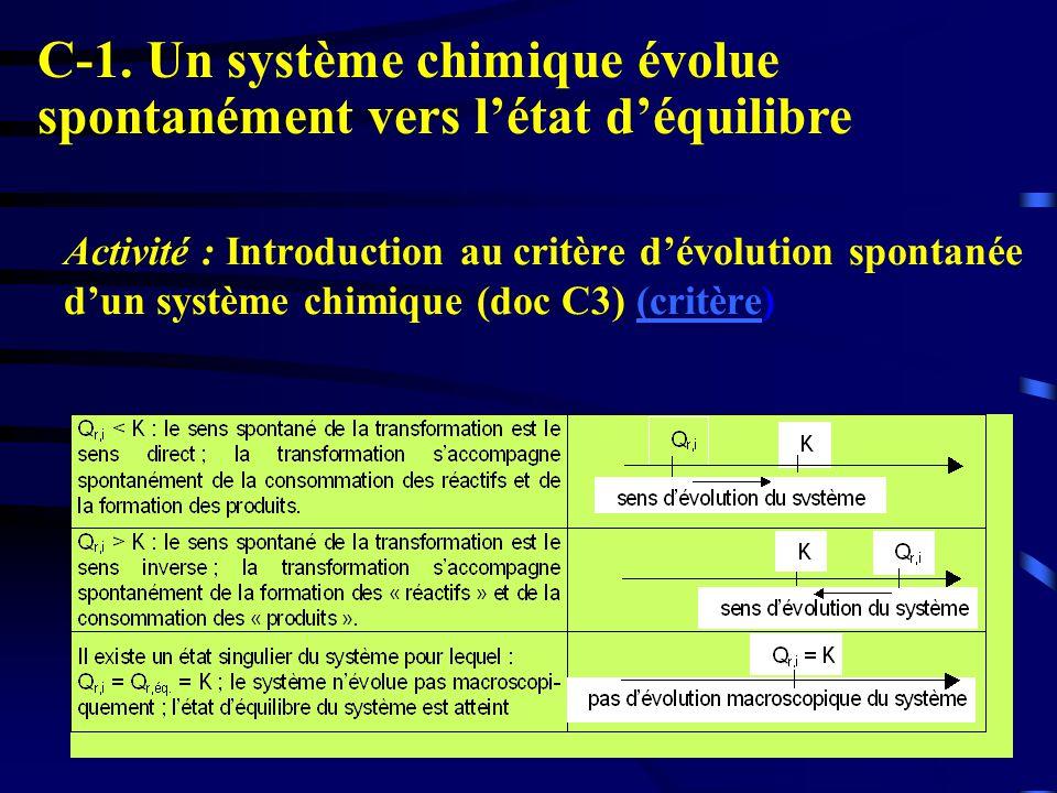 4 Activité : Introduction au critère dévolution spontanée dun système chimique (doc C3) (critère)(critère C-1. Un système chimique évolue spontanément