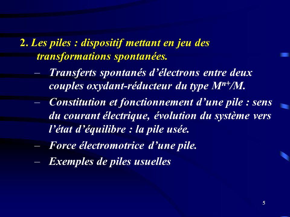 5 2. Les piles : dispositif mettant en jeu des transformations spontanées. –Transferts spontanés délectrons entre deux couples oxydant-réducteur du ty