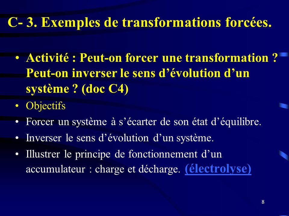 8 C- 3. Exemples de transformations forcées. Activité : Peut-on forcer une transformation ? Peut-on inverser le sens dévolution dun système ? (doc C4)