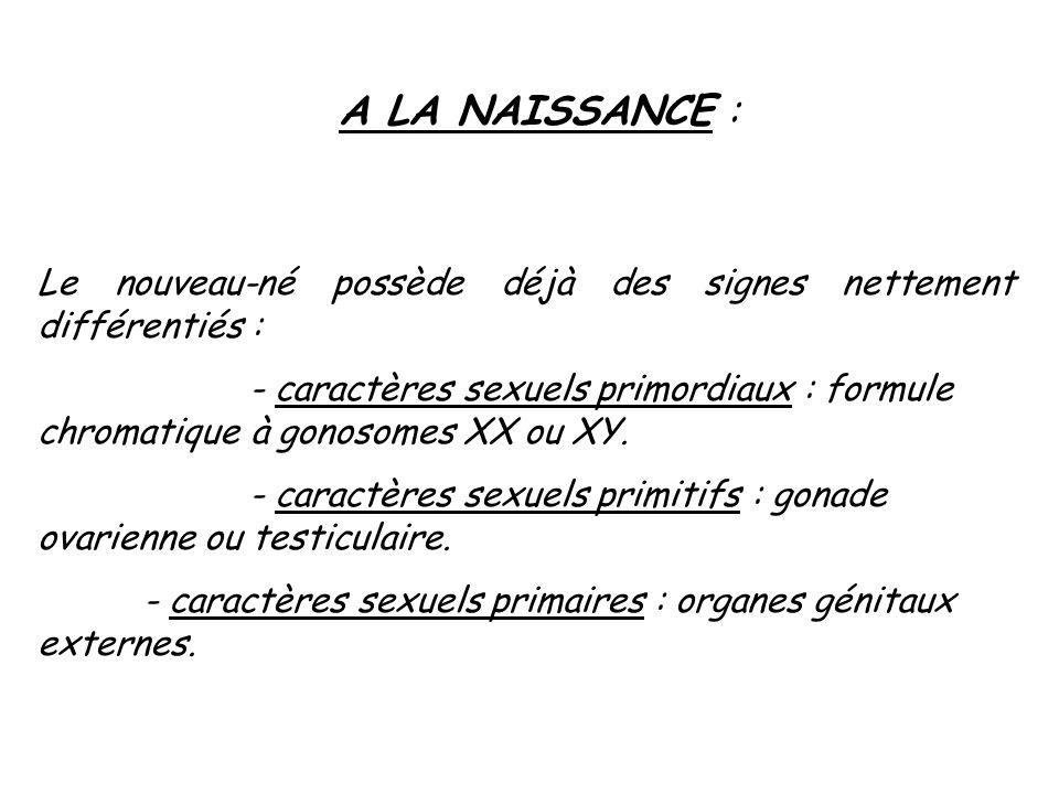 A LA NAISSANCE : Le nouveau-né possède déjà des signes nettement différentiés : - caractères sexuels primordiaux : formule chromatique à gonosomes XX