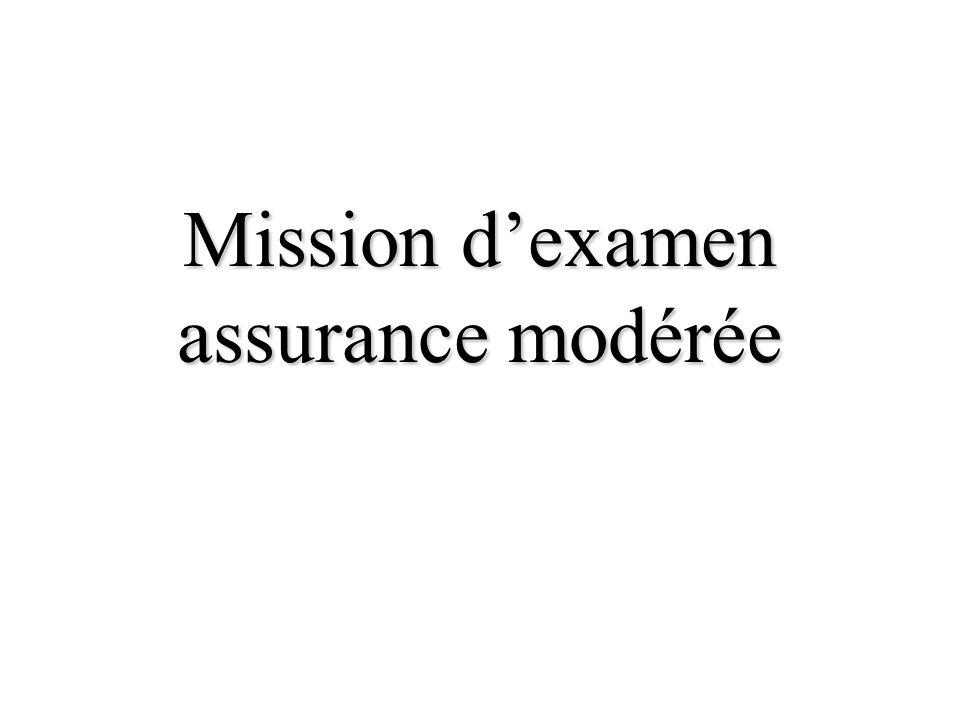 Mission dexamen assurance modérée