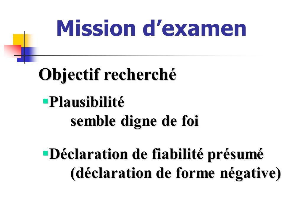 Mission dexamen Objectif recherché Déclaration de fiabilité présumé Déclaration de fiabilité présumé (déclaration de forme négative) Plausibilité Plausibilité semble digne de foi