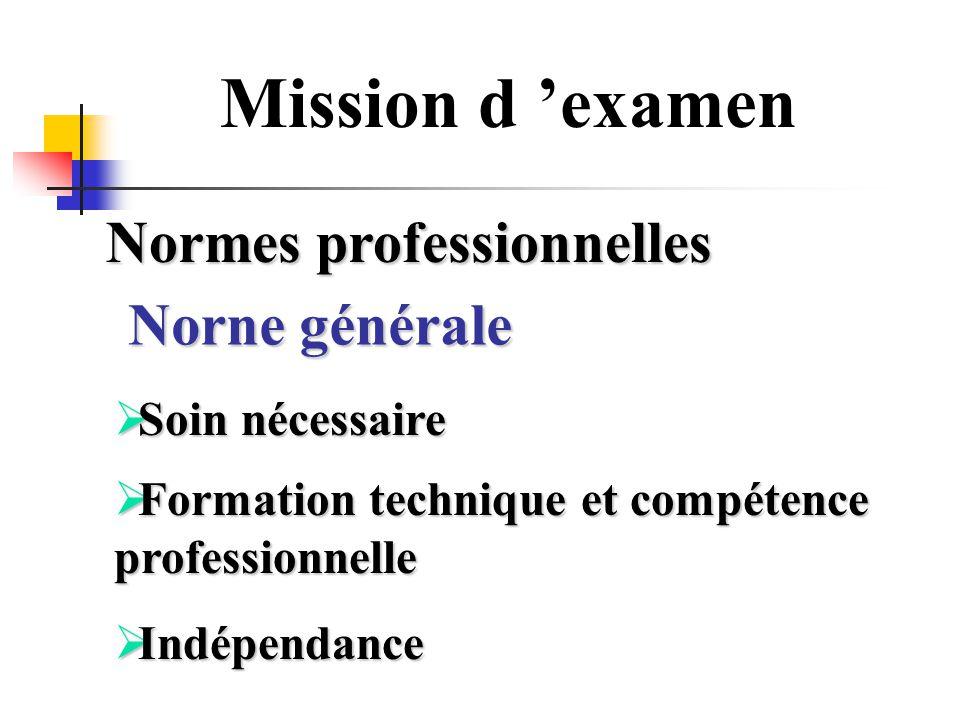 Mission d examen Normes professionnelles Soin nécessaire Soin nécessaire Formation technique et compétence professionnelle Formation technique et comp