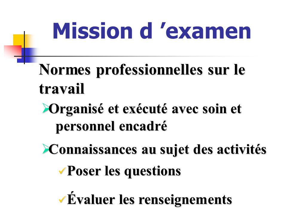 Mission d examen Normes professionnelles sur le travail Organisé et exécuté avec soin et Organisé et exécuté avec soin et personnel encadré personnel