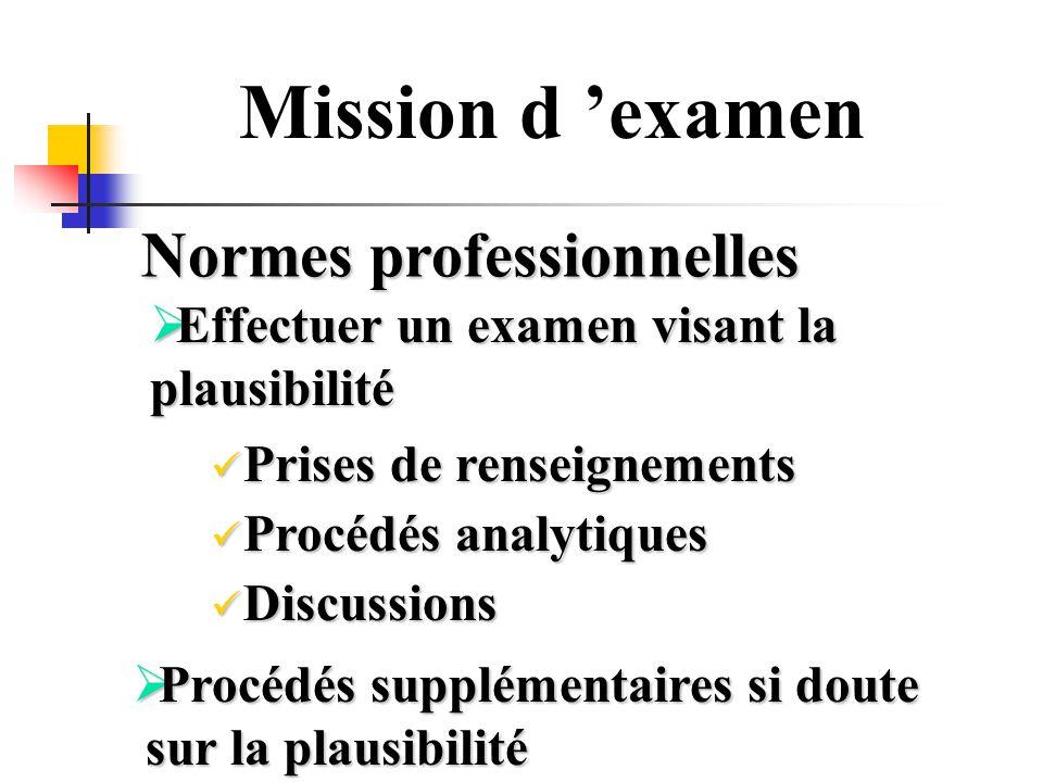Mission d examen Normes professionnelles Effectuer un examen visant la Effectuer un examen visant laplausibilité Prises de renseignements Prises de re