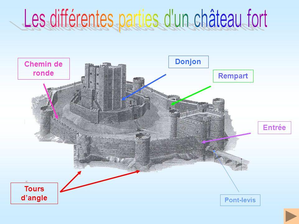 Donjon Tours dangle Chemin de ronde Entrée Rempart Pont-levis