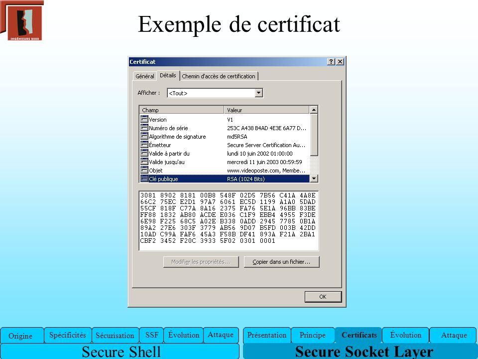 Exemple de certificat Secure Socket Layer Présentation Certificats ÉvolutionAttaquePrincipe Origine Spécificités Sécurisation SSFÉvolution Attaque Sec