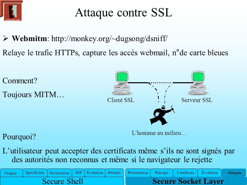 Attaque contre SSL Webmitm: http://monkey.org/~dugsong/dsniff/ Relaye le trafic HTTPs, capture les accès webmail, n°de carte bleues Comment? Toujours
