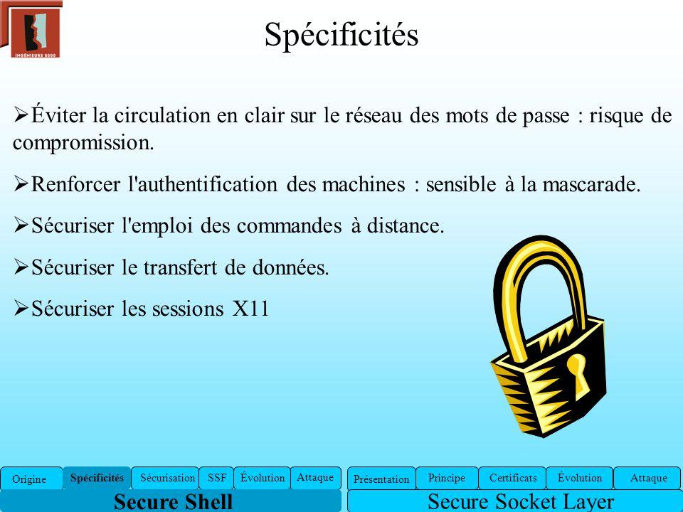 Spécificités Éviter la circulation en clair sur le réseau des mots de passe : risque de compromission. Renforcer l'authentification des machines : sen