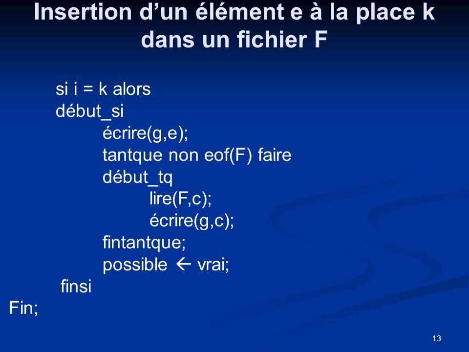 13 Insertion dun élément e à la place k dans un fichier F si i = k alors début_si écrire(g,e); tantque non eof(F) faire début_tq lire(F,c); écrire(g,c