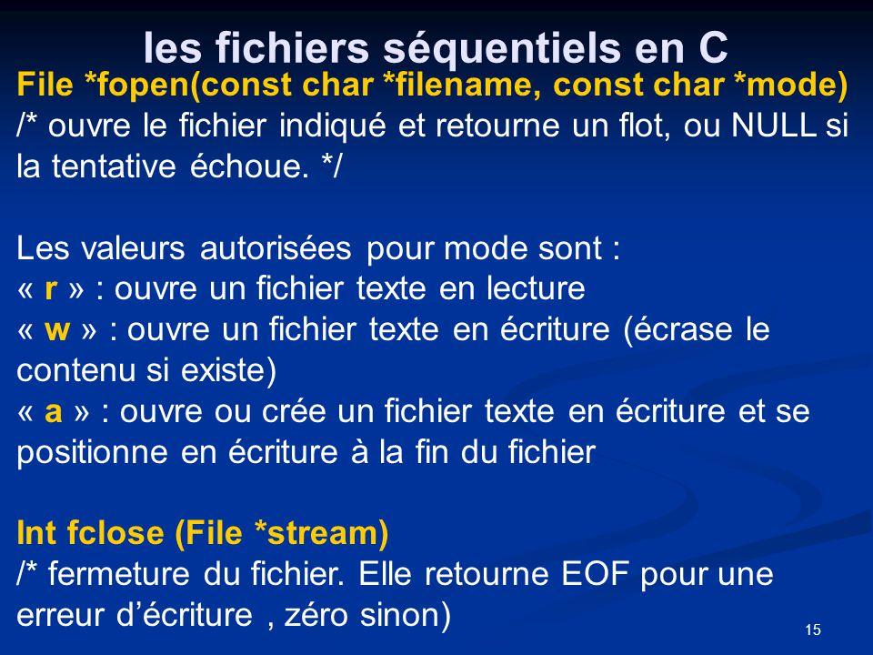 15 les fichiers séquentiels en C File *fopen(const char *filename, const char *mode) /* ouvre le fichier indiqué et retourne un flot, ou NULL si la te