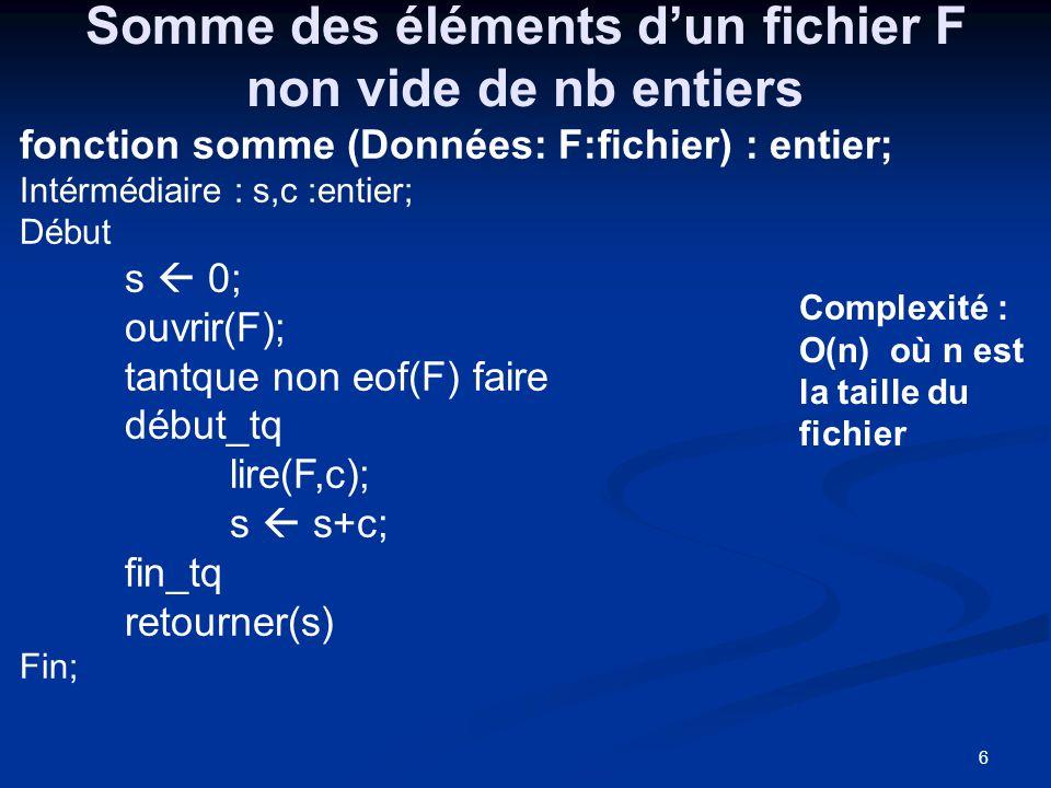 6 Somme des éléments dun fichier F non vide de nb entiers fonction somme (Données: F:fichier) : entier; Intérmédiaire : s,c :entier; Début s 0; ouvrir