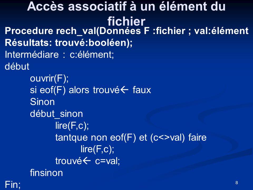 8 Accès associatif à un élément du fichier Procedure rech_val(Données F :fichier ; val:élément Résultats: trouvé:booléen); Intermédiare : c:élément; d
