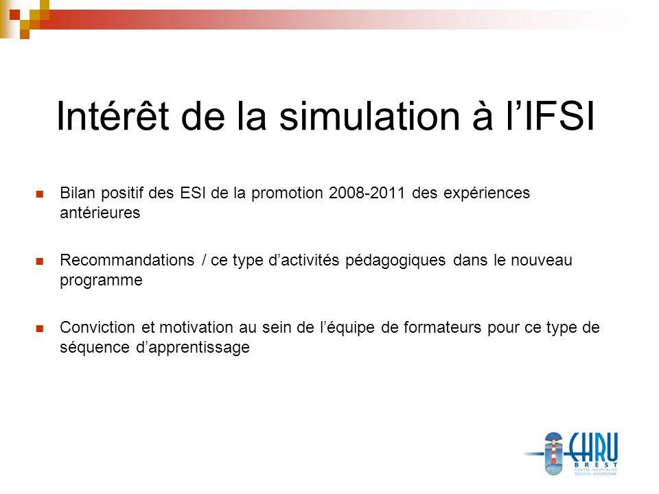 Intérêt de la simulation à lIFSI Bilan positif des ESI de la promotion 2008-2011 des expériences antérieures Recommandations / ce type dactivités pédagogiques dans le nouveau programme Conviction et motivation au sein de léquipe de formateurs pour ce type de séquence dapprentissage
