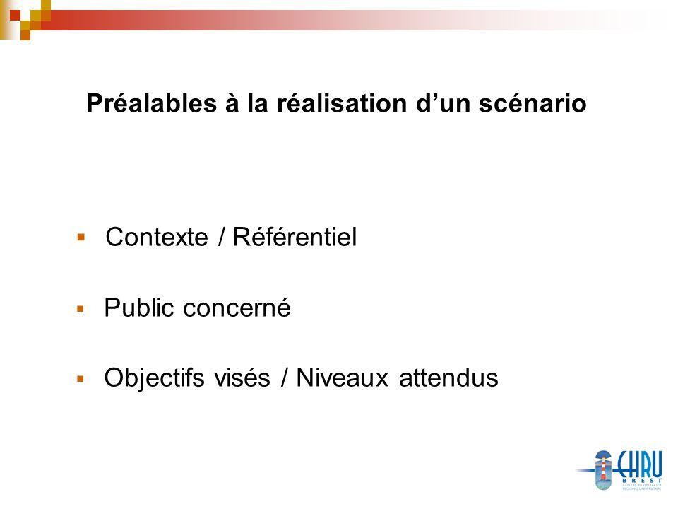 Préalables à la réalisation dun scénario Contexte / Référentiel Public concerné Objectifs visés / Niveaux attendus