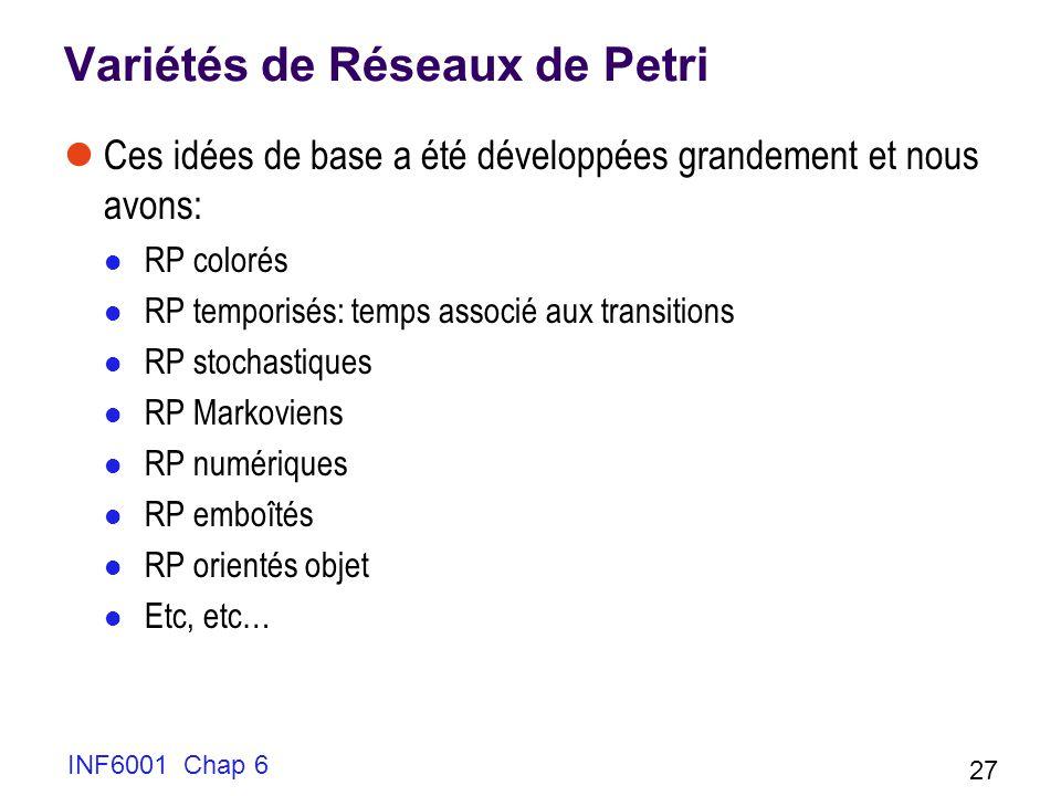 INF6001 Chap 6 27 Variétés de Réseaux de Petri Ces idées de base a été développées grandement et nous avons: RP colorés RP temporisés: temps associé aux transitions RP stochastiques RP Markoviens RP numériques RP emboîtés RP orientés objet Etc, etc…