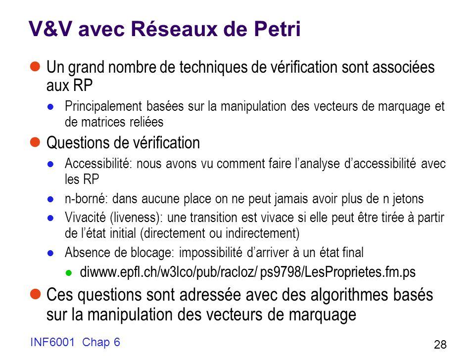 INF6001 Chap 6 28 V&V avec Réseaux de Petri Un grand nombre de techniques de vérification sont associées aux RP Principalement basées sur la manipulat