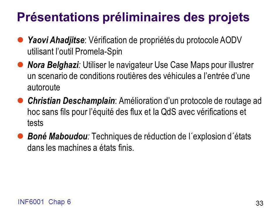 Présentations préliminaires des projets Yaovi Ahadjitse : Vérification de propriétés du protocole AODV utilisant loutil Promela-Spin Nora Belghazi : U