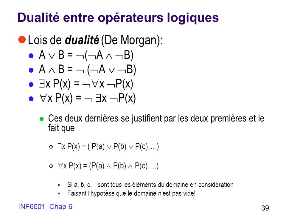INF6001 Chap 6 39 Dualité entre opérateurs logiques Lois de dualité (De Morgan): A B = ( A B) x P(x) = x P(x) Ces deux dernières se justifient par les