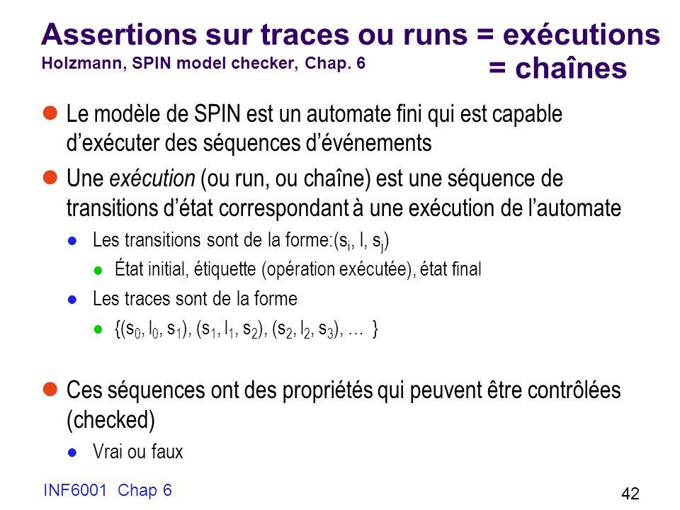 INF6001 Chap 6 42 Assertions sur traces ou runs = exécutions Holzmann, SPIN model checker, Chap. 6 Le modèle de SPIN est un automate fini qui est capa