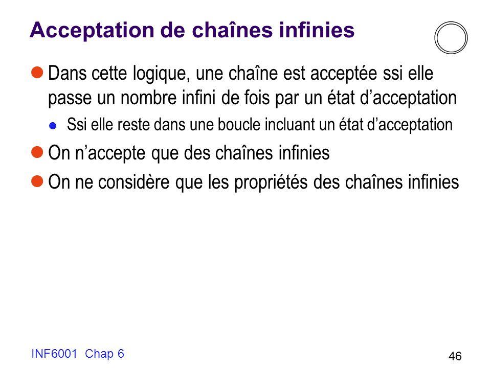 INF6001 Chap 6 46 Acceptation de chaînes infinies Dans cette logique, une chaîne est acceptée ssi elle passe un nombre infini de fois par un état dacceptation Ssi elle reste dans une boucle incluant un état dacceptation On naccepte que des chaînes infinies On ne considère que les propriétés des chaînes infinies