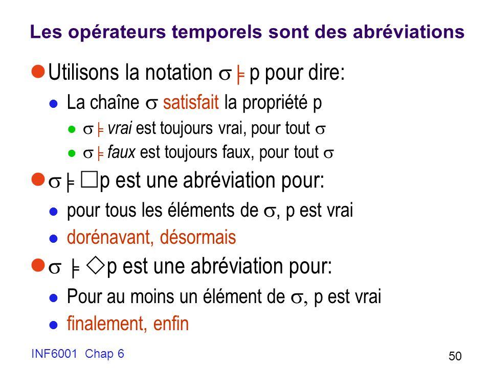 INF6001 Chap 6 50 Les opérateurs temporels sont des abréviations Utilisons la notation p pour dire: La chaîne satisfait la propriété p vrai est toujou
