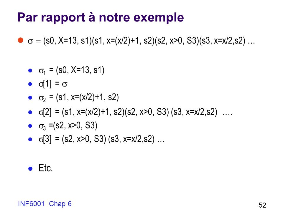 Par rapport à notre exemple (s0, X=13, s1)(s1, x=(x/2)+1, s2)(s2, x>0, S3)(s3, x=x/2,s2) … 1 = (s0, X=13, s1) [1] = 2 = (s1, x=(x/2)+1, s2) [2] = (s1, x=(x/2)+1, s2)(s2, x>0, S3) (s3, x=x/2,s2) ….