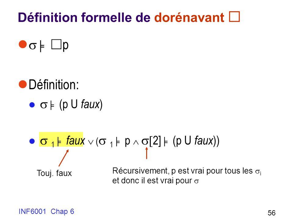 INF6001 Chap 6 56 Définition formelle de dorénavant p Définition: (p U faux ) 1 faux ( 1 p 2] (p U faux )) Touj. faux Récursivement, p est vrai pour t