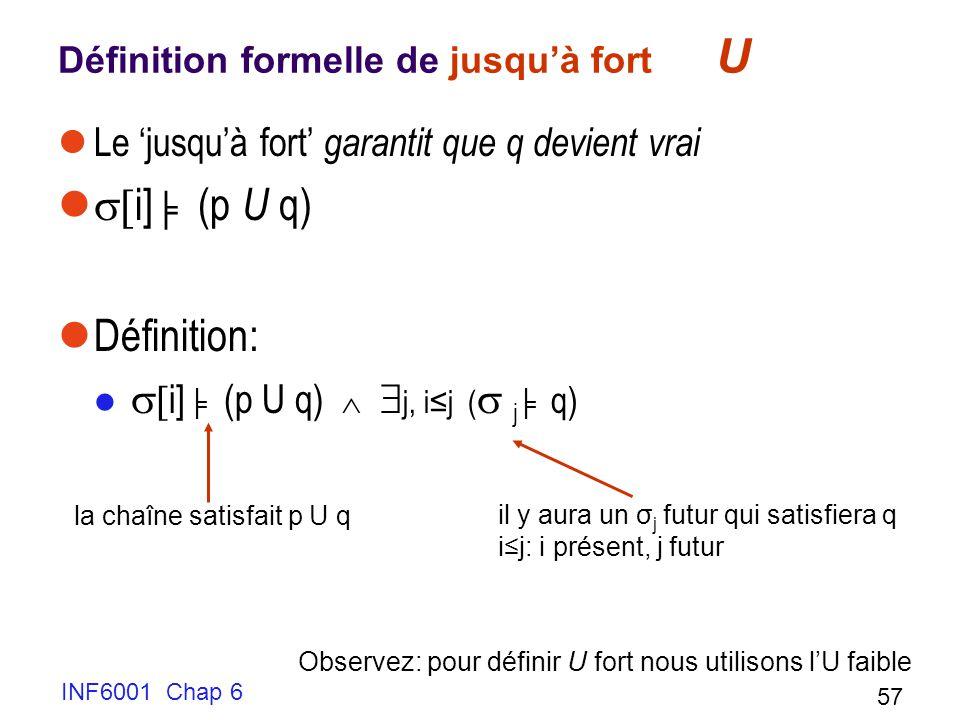 INF6001 Chap 6 57 Définition formelle de jusquà fort U Le jusquà fort garantit que q devient vrai i] (p U q) Définition: i] (p U q) j, ij ( j q) la chaîne satisfait p U q il y aura un σ j futur qui satisfiera q ij: i présent, j futur Observez: pour définir U fort nous utilisons lU faible