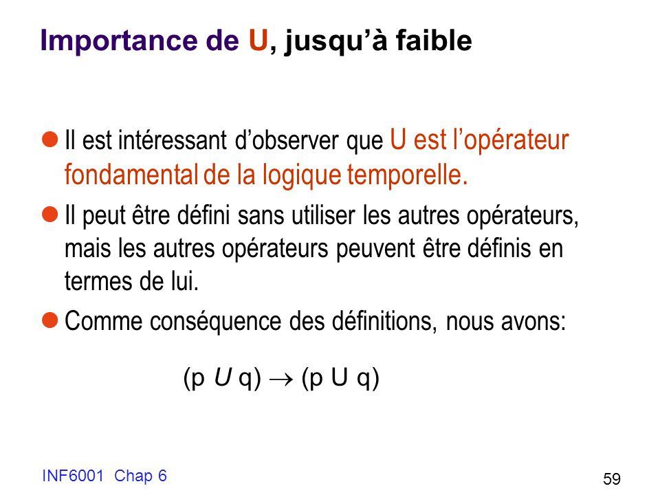 Importance de U, jusquà faible Il est intéressant dobserver que U est lopérateur fondamental de la logique temporelle. Il peut être défini sans utilis
