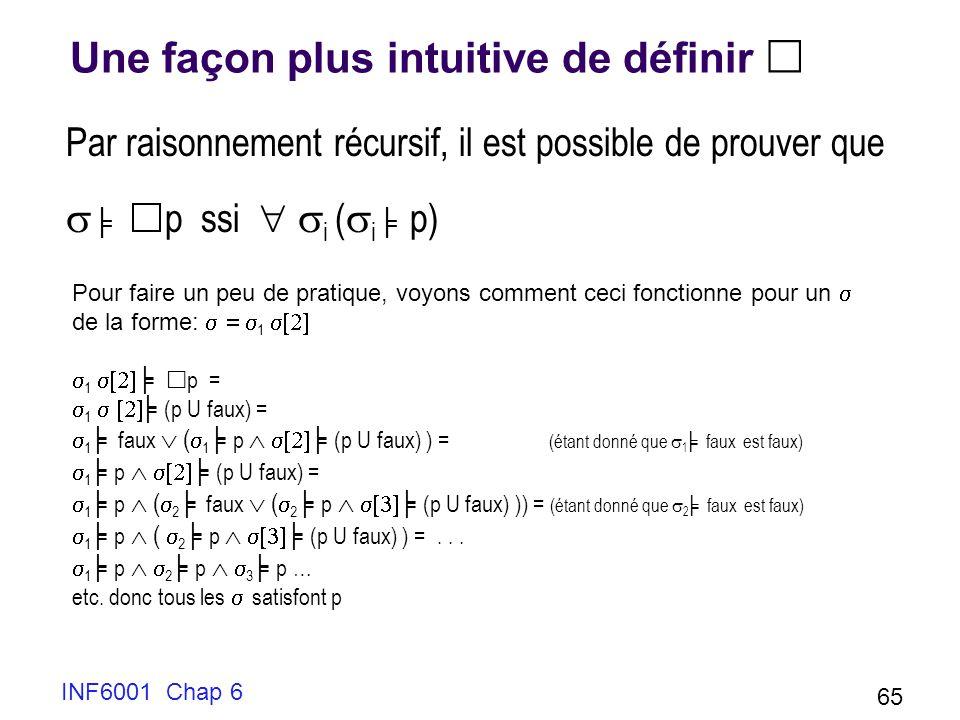 INF6001 Chap 6 65 Une façon plus intuitive de définir Par raisonnement récursif, il est possible de prouver que p ssi i ( i p) Pour faire un peu de pratique, voyons comment ceci fonctionne pour un de la forme: 1 1 p = 1 (p U faux) = 1 faux ( 1 p (p U faux) ) = (étant donné que 1 faux est faux) 1 p (p U faux) = 1 p ( 2 faux ( 2 p (p U faux) )) = (étant donné que 2 faux est faux) 1 p ( 2 p (p U faux) ) =...