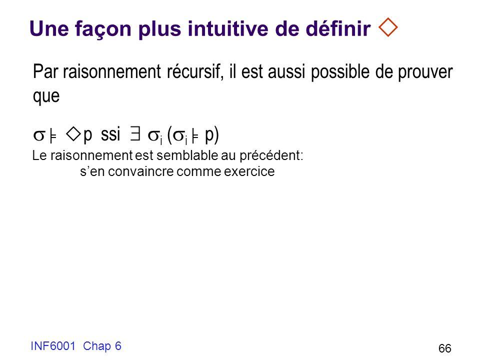 INF6001 Chap 6 66 Une façon plus intuitive de définir Par raisonnement récursif, il est aussi possible de prouver que p ssi i ( i p) Le raisonnement est semblable au précédent: sen convaincre comme exercice