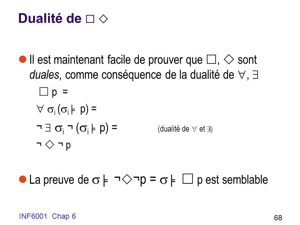 INF6001 Chap 6 68 Dualité de Il est maintenant facile de prouver que, sont duales, comme conséquence de la dualité de, p = i ( i p) = ¬ i ¬ ( i p) = (dualité de et ) ¬ ¬ p La preuve de ¬ ¬p = p est semblable