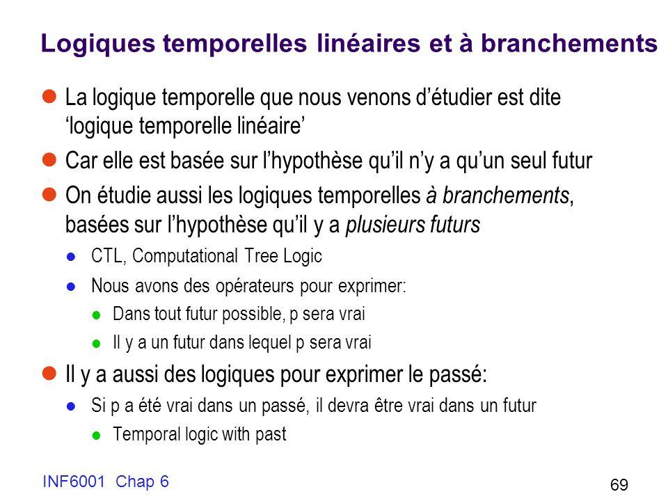 INF6001 Chap 6 69 Logiques temporelles linéaires et à branchements La logique temporelle que nous venons détudier est dite logique temporelle linéaire