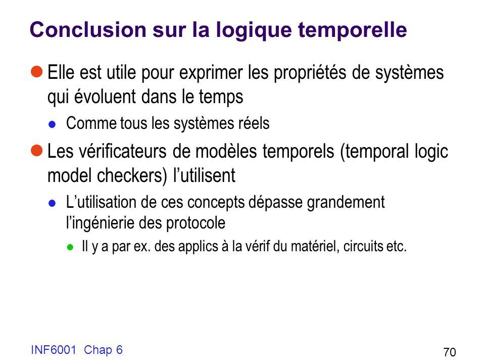 INF6001 Chap 6 70 Conclusion sur la logique temporelle Elle est utile pour exprimer les propriétés de systèmes qui évoluent dans le temps Comme tous l