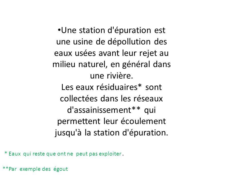 Une station d'épuration est une usine de dépollution des eaux usées avant leur rejet au milieu naturel, en général dans une rivière. Les eaux résiduai