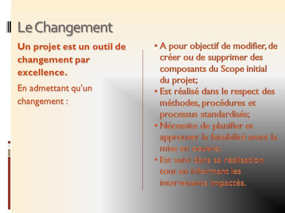 Le Changement Un projet est un outil de changement par excellence. En admettant quun changement :